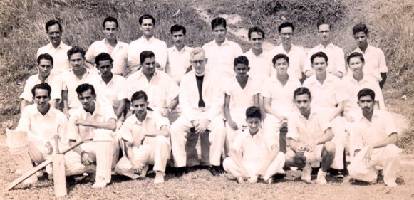 Former and current pupils St. Andrew's School, cricket team,  about 1947, second row, second from left.