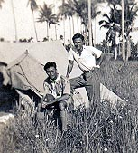 Camping at Siglap, Singapore, about 1940, on the right.
