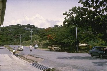 Looking down one of the main streets in Port Moresby.